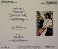 http://custard-pie.com Zeppelin bootleg CD of the show June 2 1973