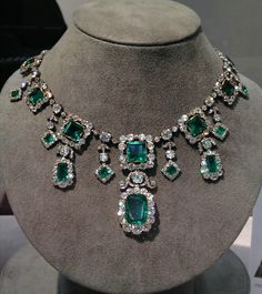 The Savoy-Aosta Emerald Necklace, a spectacular early 19th century emerald and diamond necklace that belonged to Princess Hélène d'Orléans