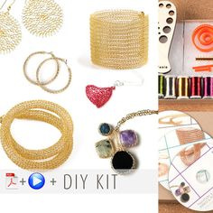 Wire crochet kit EXTENDED beginners DIY kit , video tutorials with supply and tools - Yooladesign Diy Jewelry Kit, Jewelry Making Kits, Wire Jewelry, Jewelry Ideas, I Love Diy, Spool Knitting, Wire Crochet, Crafts To Make And Sell, Diy Schmuck