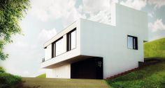 Jednoducha hranata (funkcionalisticka) krabice - Rodinný dům v Libčicích nad Vltavou