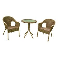 Chelsea 3 Piece Wicker Resin Steel Patio Bistro Set