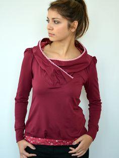 Hoodies - Kapuzenshirt - bordeaux - Blüten - Hoodie - ein Designerstück von stadtkind_potsdam bei DaWanda