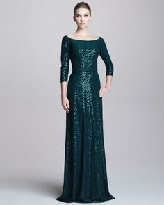 David Meister - Sequined Bateau-Neck Gown