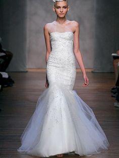Ivory Tulle One Shoulder Draped Trumpet Wedding Dress