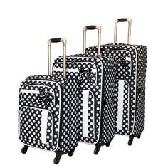 Polka Dot 3 Piece Luggage Set Color BlackWhite *** You can get additional details at the image link.