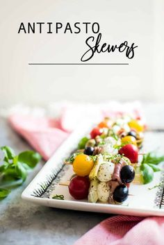 These little skewers of flavor are sure to have your guests raving! But, that's not the best thing about these beautiful, colorful appetizers… you can make them and be ready to go in just 5 minutes. Best Appetizer Recipes, Brunch Recipes, Drink Recipes, Antipasto Skewers, Kabob, Cold Appetizers, Party Appetizers, My Favorite Food, Favorite Recipes