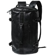 58.85$  Watch here - http://ali90m.worldwells.pw/go.php?t=32720870988 - Wholesale High Quality Men Backpacks Leather Black Fashion Cylinder Hand Bags Travel Shoulder Bag for Male Mochila Dollar P067 58.85$
