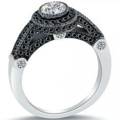 1.63 Ct. G-SI1 Certified Pave Halo Round Diamond Engagement Ring 14k Black Gold - Pave Halo Engagement Rings - Engagement - Lioridiamonds.com