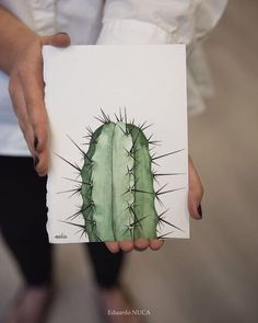 Cute cactus-easy to drawEither you are bragging or you just have a good memory of me telling you to enjoy your cactus.Printable art Cacti art print Watercolor cactus by SouthPacific - SalvabraniTo any cactus lovers out there.Pinned by: ☾OohmyJupite Cactus Drawing, Cactus Painting, Watercolor Cactus, Cactus Art, Watercolour Painting, Painting & Drawing, Simple Watercolor, Tattoo Watercolor, Watercolor Animals
