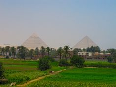 The pyramids from a spot on the highway that dead ends into the desert