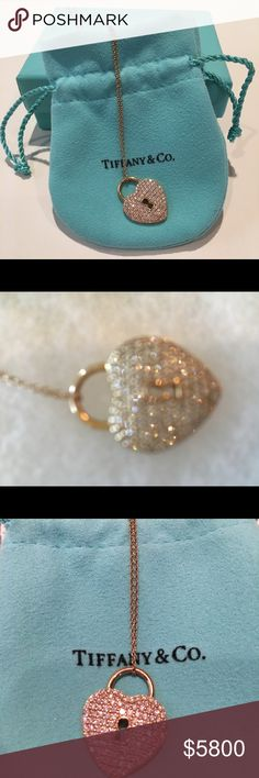 """Large Tiffany & Co. Lock Heart pendant /necklace Heart lock pendant in 18k rose gold with round brilliant diamonds. Size large, on an 18"""" chain. Carat total weight .76. Comes with original box and bow. Purchased for $7,700.  Very little normal wear scratches on back. This is solid gold and extremely sparkly. The sparkle is noticeable from far away. Tiffany & Co. Jewelry Necklaces"""