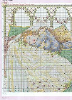 Sleeping Beauty (Joan Elliott) From Cross Stitch Gold 2012 3 of 6 Fantasy Cross Stitch, Cross Stitch Fairy, Cross Stitch Angels, Counted Cross Stitch Patterns, Cross Stitch Designs, Cross Stitch Embroidery, Cross Stitch Boards, Cross Stitch Pictures, Cross Stitching