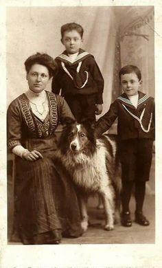 Vintage Collies - Woman with two boys and a dog.