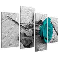 Large Black White Teal Rose Floral Canvas Wall Art Pictures on Grey XL Split Set-Big Modern Flower Prints-Multi Panel Turquoise Paintings Home Decoration Stretched and Framed Ready to Hang Wall Art Pictures, Canvas Pictures, Framed Pictures, Wall Photos, Teal And Grey, Black And White, Large Black, Dark Teal, Deep Purple