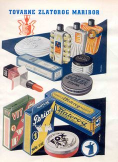 Poster produced by Ozeha (ca 1950) shows product portfolio of Slovenian cosmetic company Zlatorog Maribor, former Henkel Schwarzkopf representatives for Yugoslavian markets. In the foreground famous Henkel brand Solea cream. Source: Zvonimir Faist, The dictates of the time, posters from the late 1930s to 1960s, exhibition catalog, Zagreb City Museum