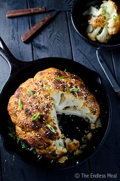Whole Roasted Cauliflower with Sesame and Ginger