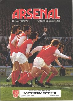 Arsenal 1 Tottenham 0 in April 1975 at Highbury. The programme cover #Div1