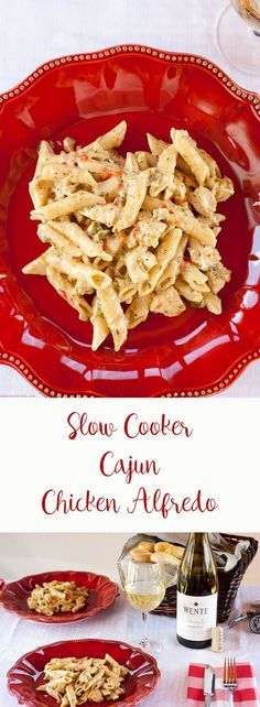 Delicious Slow Cooker Cajun Chicken Alfredo. Super easy recipe that is perfect for dinner for family and friends!