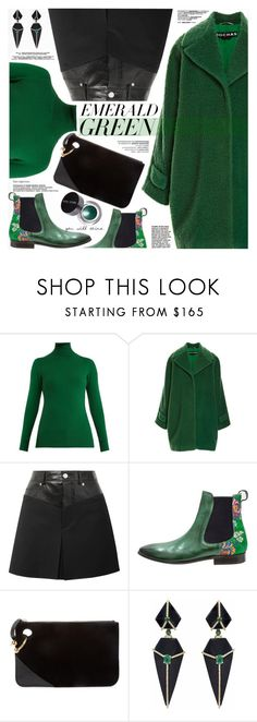 """""""Emerald City: Pops of Green"""" by katjuncica ❤ liked on Polyvore featuring JoosTricot, Rochas, Helmut Lang, J.W. Anderson, Bobbi Brown Cosmetics and emeraldgreen"""