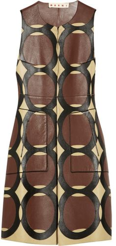 Marni Patterned Leather Sleeveless Jacket in Brown | The House of Beccaria# Dont know the year made but I love this!