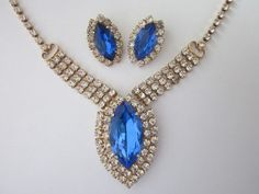 Vintage Rhinestone Necklace and Earrings by WhitebirdArtiques  32.00