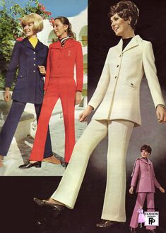 1970......the emergence of the pant suit   I received the white one for Christmas from my husband.