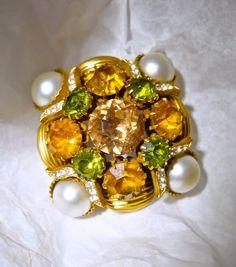 Topaz Yellow Green Brooch, VENDOME Rhinestone, Faux Pearls, Vintage