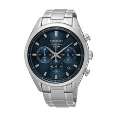 Japanese Quartz Movement Case diameter: Hardlex Crystal Stainless Steel case with Stainless-Steel band Water-resistant to 100 Meters / 330 Feet / 10 ATM Stainless Steel Watch, Stainless Steel Bracelet, Seiko Men, Seiko Watches, Black Crystals, Casio Watch, Omega Watch, Chronograph, Watches For Men