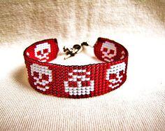 Halloween Day Of The Dead Skulls - Loom Beaded Bracelet - Skeleton