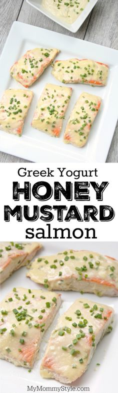 Greek Yogurt honey mustard salmon. 20 minute meal and 5 ingredient dinner! It's fast, easy and so yummy!