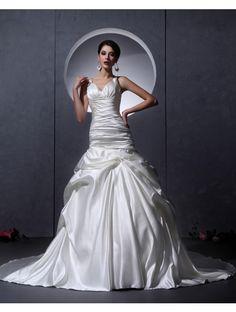 Wedding Dresses Wedding Dresses,Stkittsipa Trumpet/Mermaid V-neck Sleeveless Elastic Woven Satin Ivory Wedding Dress With Ruffles #Wedding#Dresses