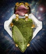 Gold and Silver Moldavite Ring