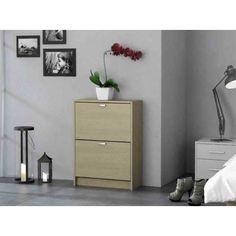 Mueble zapatero en dos colores disponibles blanco y roble for Mueble zapatero poco fondo