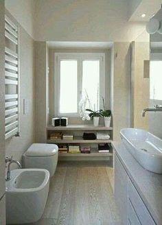 Admirable Narrow Bathroom Design Ideas - Page 3 of 22 Narrow Bathroom, Laundry In Bathroom, White Bathroom, Dream Bathrooms, Beautiful Bathrooms, Casa Milano, Bathroom Inspiration, Bathroom Ideas, Bathroom Layout