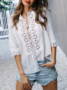 Where to buy lace blouse? NewChic offer quality lace blouse at wholesale prices. Shop cool personalized lace blouse with unbelievable discounts. Cheap Blouses, Shirt Blouses, Blouses For Women, Bohemian Blouses, Lace Button, Blouse Patterns, Half Sleeves, Ideias Fashion, Button Up Shirts