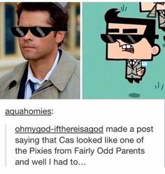 he isn't an angel he's a pixie<-- oh my god. I'm not in the Supernatural fandom but this is awesome XD