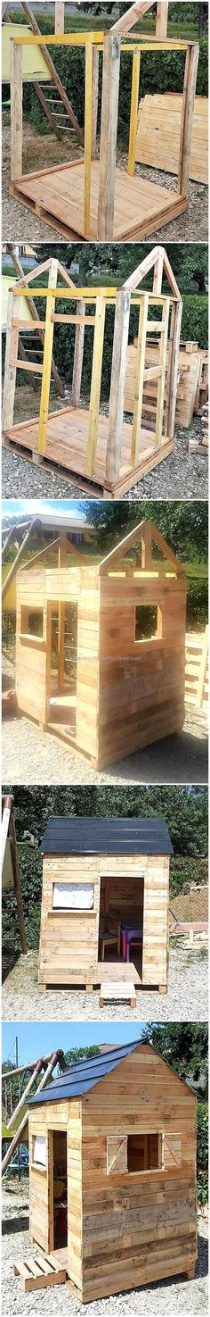 diy wooden pallets kids playhouse plan