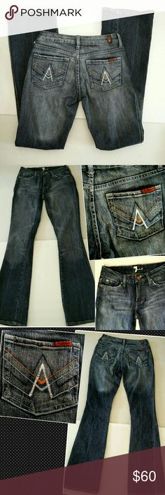 "7 FAM A Pocket Boot Cut Jeans sz.  25 7 For All Mankind ""A"" Pocket Jeans.   EXCELLENT PRE-OWNED CONDITION,  LIKE NEW.   APPROXIMATE MEASUREMENTS  LENGTH 38.5"" INSEAM 32"" WAIST 13.5"" HIPS 18"" FRONT RISE 7"" BACK RISE 11.5"" LEG OPENING 8.5"" Knee 6 1/3"" SMOKE AND PETS FREE HOUSE 7 For All Mankind Jeans Boot Cut"