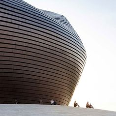 Shaped like a large undulating blob, the Ordos Museum is clad in polished metal tiles