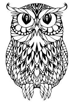 OWL Coloring Pages for Adults. Free Detailed Owl Coloring Pages Coloring Pages To Print, Free Printable Coloring Pages, Coloring Book Pages, Coloring Pages For Kids, Coloring Sheets, Mandalas Painting, Mandalas Drawing, Mandala Art, Zentangles