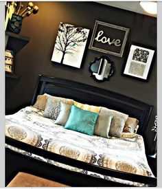 Bedroom ideas, love the dark charcoal wall behind the bed
