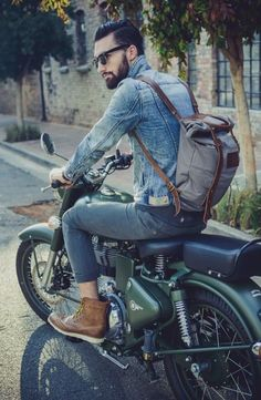 jean jacket, leather shoes, backpack, motorcycle
