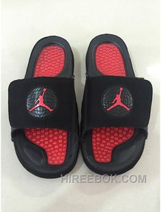 "938f0e5c090829 Mens Jordan Hydro 9 Slide Sandals ""Bred"" Black Red Top Deals F7Tkwp"