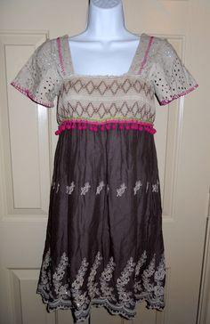 Free People Smocked Beige & Mushroom Embroidered Eyelet Tunic Dress sz 0…