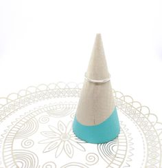 Mint Green Dipped Wood Ring Stand Modern Ring Holder Ring Cone Minimalist Ring…