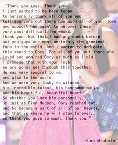 Lea Michele, Teen Choice Awards 2013 acceptence speech