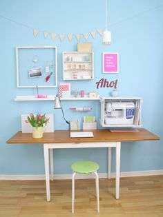 Adorable workspace inspiration! Love that everything has a place.