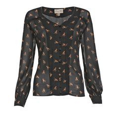 Fridey Black Horse Print Blouse | Vintage Inspired Fashion - Lindy Bop