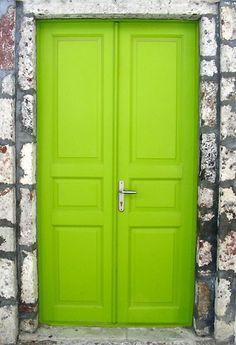 Neon yellow door