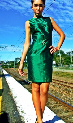 Emerald Green Silk Dupion Sheath Dress by GlobalVibe on Etsy, $108.00 So beautiful!